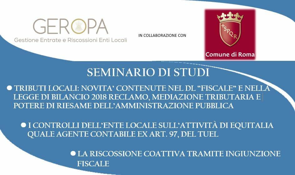 COMUNE DI ROMA e GEROPA SRL: PROGRAMMA DEL SEMINARIO 4 e 5 LUGLIO 2018